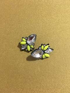 Neon Yellow Flower Statement Earrings