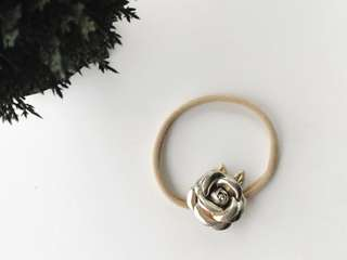 Petite small rose with gold leave headband - gold