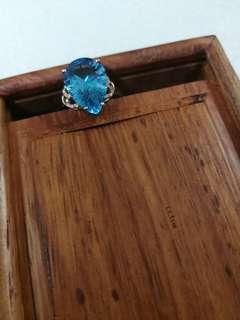 18k碎鑽鑲6.7ct海藍寶