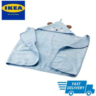 IKEA BADET Baby towel with hood, light blue FAST DELIVERY