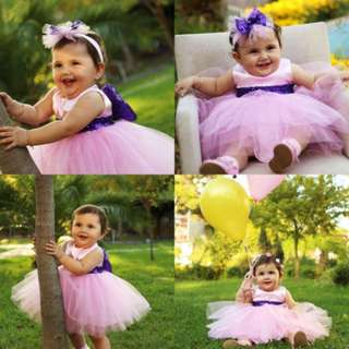 Pink Toddler Baby Kids Girls Princess Bowknot Tunic Tulle Party Dress Sundress ribbon