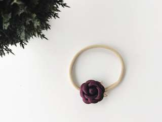 Petite Small rose with gold flower headband - Burgundy