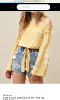 LA Hearts Yellow Embroidered Bell Sleeves Tie Front Off Shoulder Top