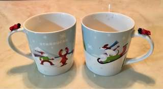 Pair of winter collection Starbucks porcelain mugs