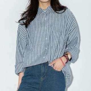 Oversized Striped Blue Korean Blouse