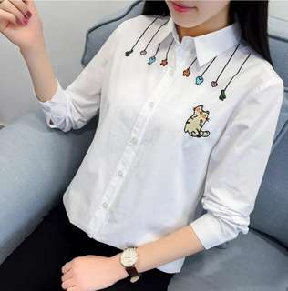 "[PO] Embroidered ""Cat + Baits"" Shirt (25)"