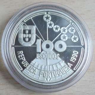 葡萄牙 100 Escudos 1990 發現導航銀幣 Portugal 100 Escudos 1990 Entdeckungen Navigation