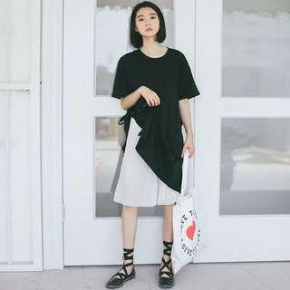 韓版黑色休閒連身裙