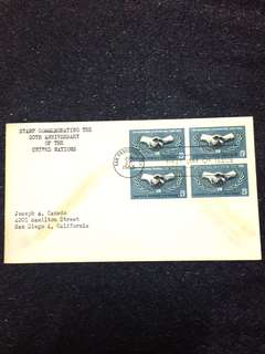 US 1965 United Nations Blk4 FDC stamp