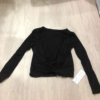 Backless Black Long Sleeves Top
