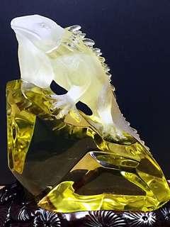 ❤️❤️🐎天然黄水晶蜥蜴摆件