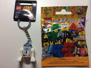 出售Lego R2-D2鎖匙扣+未開包Series18no.3藍磚人一隻