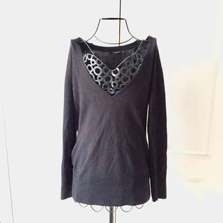Black V-Neck Atmosphere Sweater