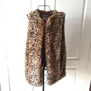 Cheetah Print Faux Fur Vest