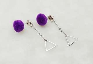 Purple Pom Pom Triangle Dangle Earring