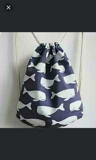 Whale drawstring bag