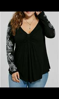 BN Plus Size Black Long Sleeve Top with Drapes UK 26 (5xl)