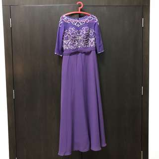 Purple 3/4 sleeve long evening dress