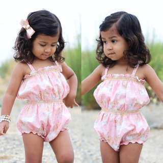 Infant Baby Girl Unicorn Off shoulders Floral Romper Bodysuit Kid Clothes Outfit
