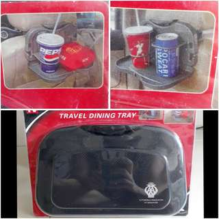Travel dinning tray cup holder