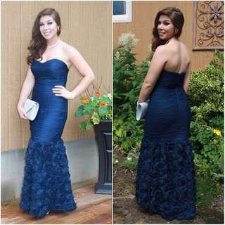 Navy blue mermaid style prom dress