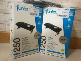 BNIB 2 x FUNKE DSC250 Active Indoor Antenna (35 dB) For Digital TV For Sale
