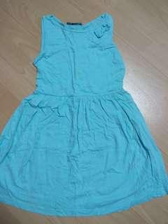 Girls Light Blue Cotton Dress