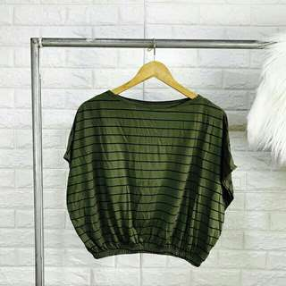 ♡Striped Batwing Top♡