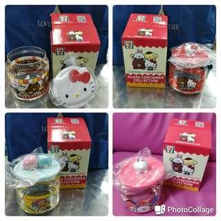 BNIB sanrio line friends glass container (kitty, twin stars, cony, Brown)