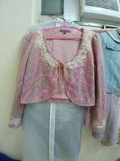 Moiselle蕾絲粉紫外套
