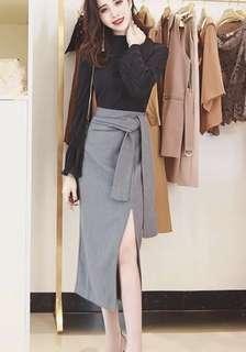 PO - Split Bandage Midi Skirt High Waist Elegant Asymmetry Skirt (3 colors)