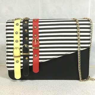 [BN] Black & White Stripes Shoulder Bag