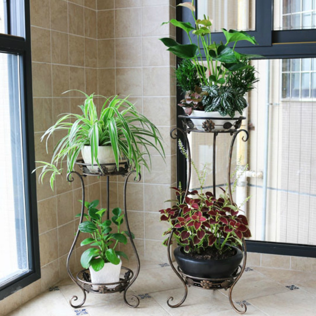 2 Level Metal Plant Stand Gardening On Carousell