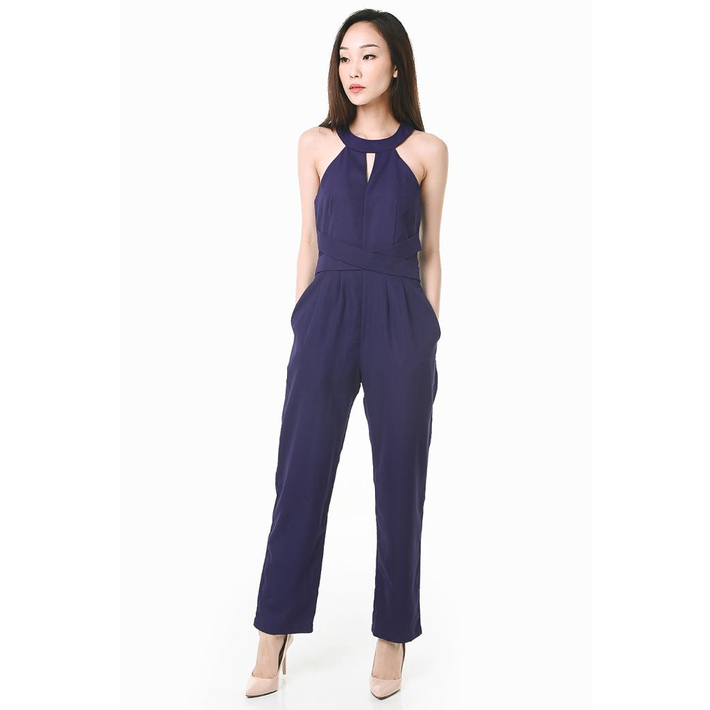 633b310e8ea3 All Would Envy Faye Navy Tailored Jumpsuit (Size S)