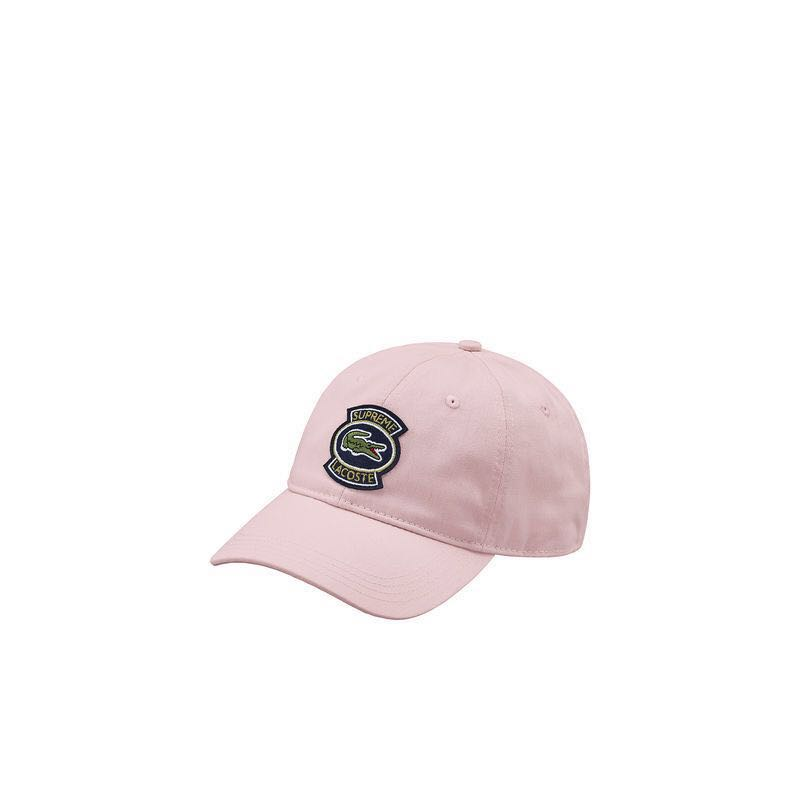 Authentic Supreme x Lacoste Gabardine Twill 6-Panel Cap Pink 0ff7695d451