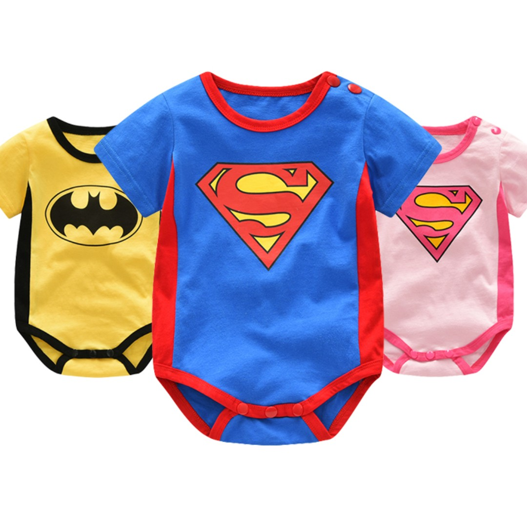 de0509ff1 Batman x Superman x Supergirl Short Sleeves Snap Button Romper - 100 ...