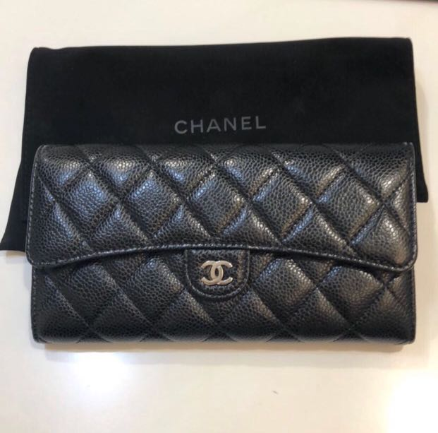 d1d77224cd04 Chanel Black Caviar with Silver Hardware Classic Flap Long Wallet, Women's  Fashion, Bags & Wallets on Carousell