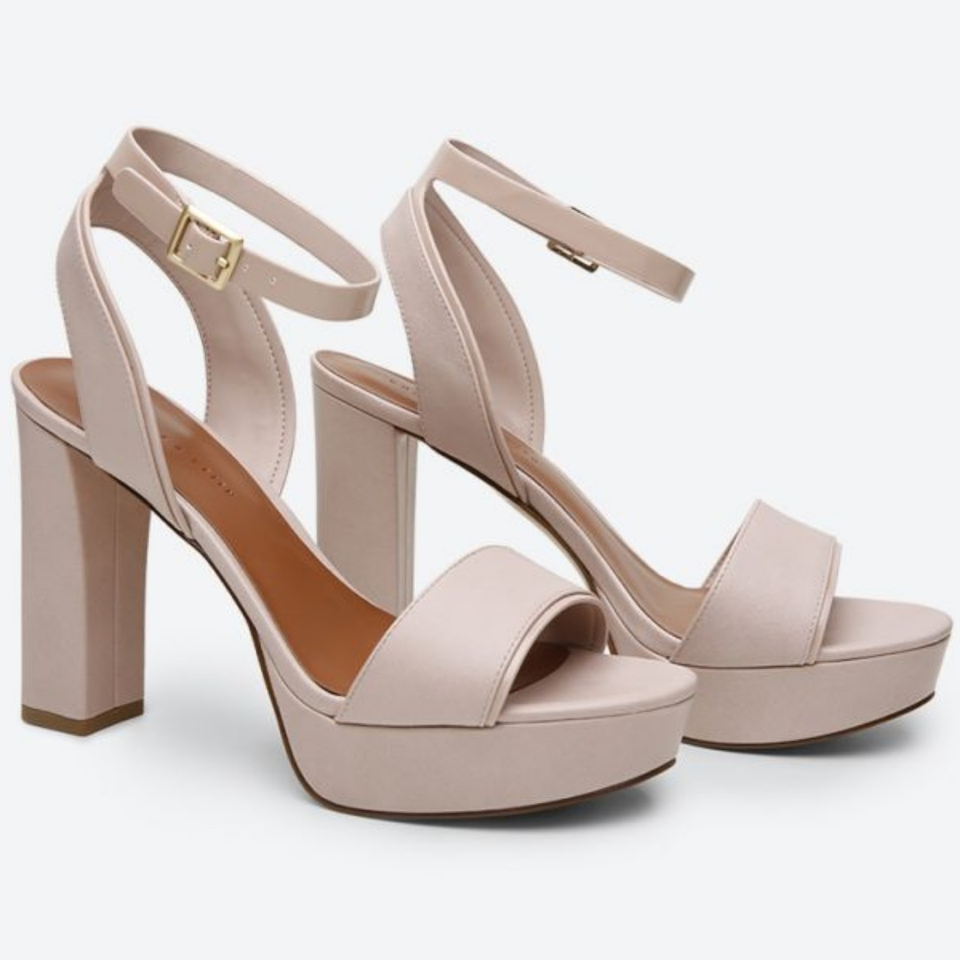 cb6ed5cc0c4 Charles and Keith Nude Platform Block Heel Sandals