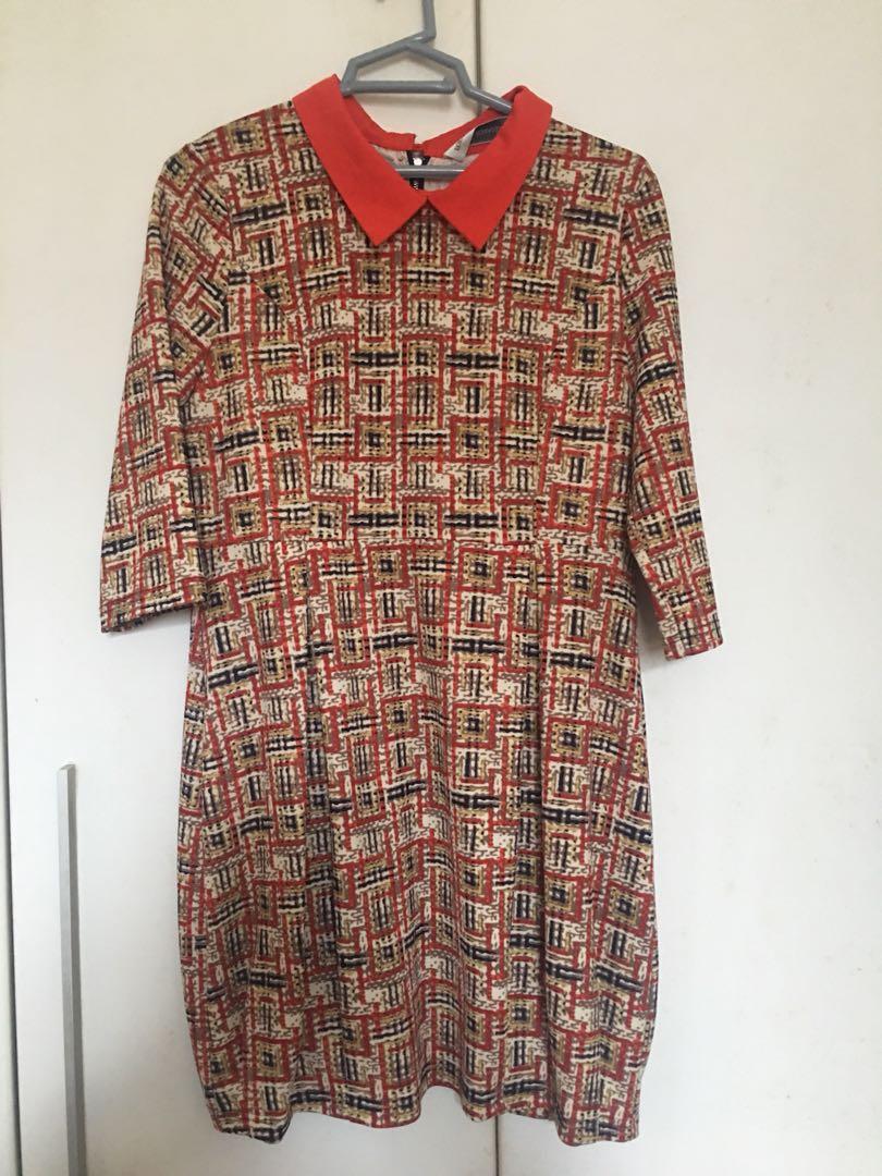 Checkered Orange Preppy Skirt