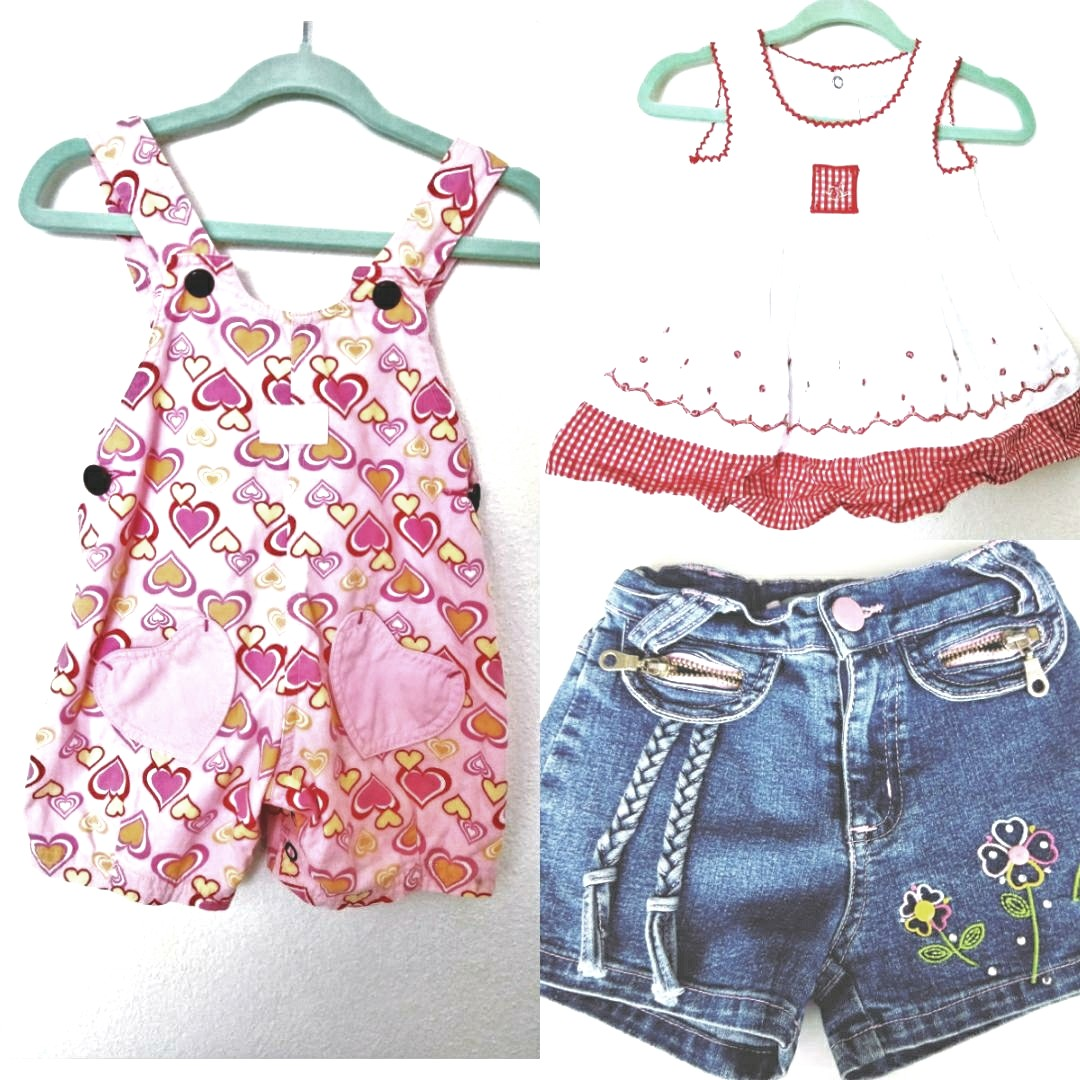 Dress, Overalls Size000 & Shorts size 5mths