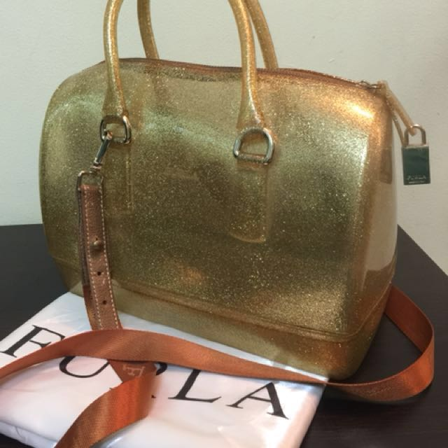 Furla Candy Bag Gold Glitter Women S Fashion Bags Wallets On