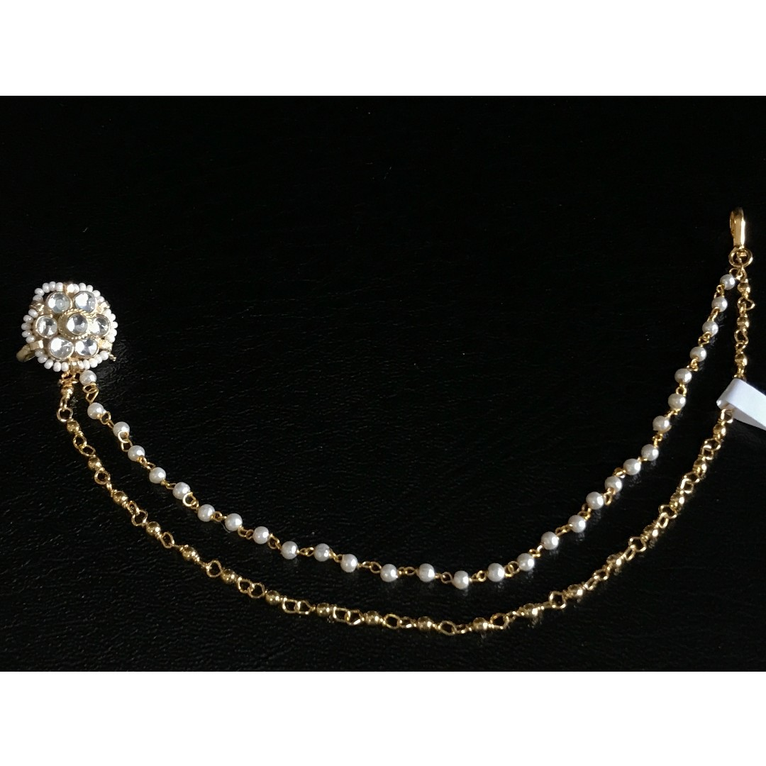 Kundan Nose Pin With Double Chain Women S Fashion Jewellery On Carousell