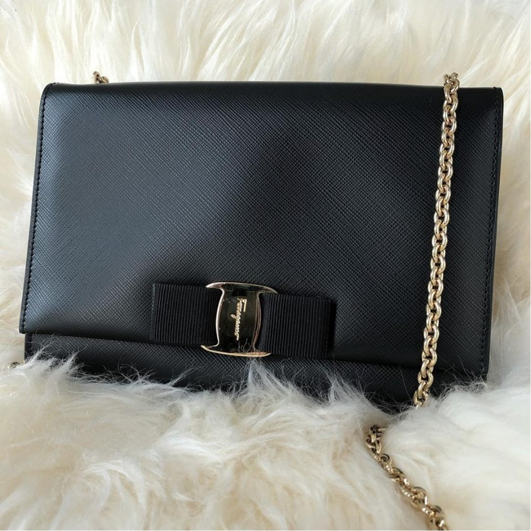 92eac9b3223b Salvatore Ferragamo Vara Bow Cross Body Black Calfskin with GHW ...