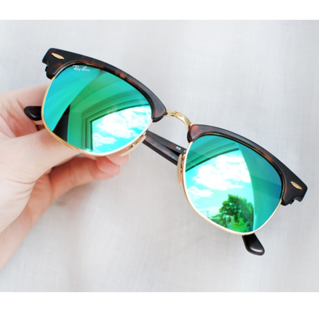 99d2cef64 Unisex AUTHENTIC Ray Ban Clubmaster Reflective Turquoise, Men's ...