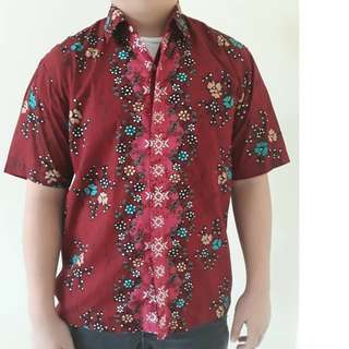 50% Disc. Men Red Batik Shirt