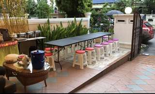 Rental of tables and stools for parties, bashes and get together