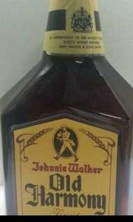 80年代,陳年JW左走OId Harmony威士忌750mI,無盒。