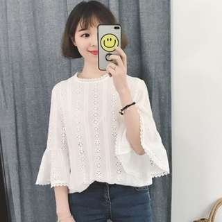 [T908] Crochet Lace Flutter Sleeves Top
