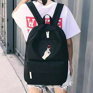 Unisex Students Embroidered Roses Loves Canvas Backpack Casual School Bag(Black)