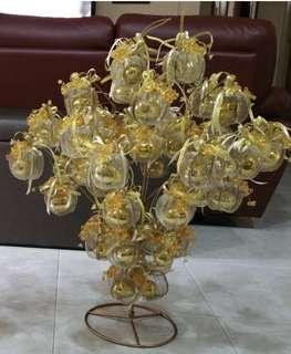 Unique Silver & Gold Gubahan Bunga Pahar